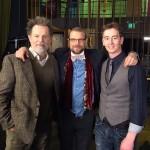 Bruce Greenwood, David Cubitt, Stephen Ellis on set of 'Rehearsal.'