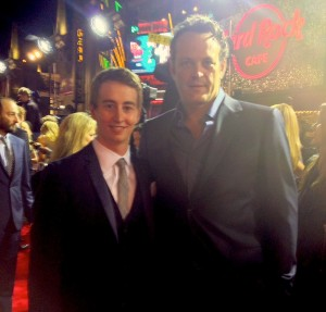 Stephen Ellis with Vince Vaughn at the premiere of Delivery Man.